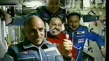 Space tourist Dennis Tito (left) on the Russian Federal Space Agency's ISS EP-1 mission in 2001.