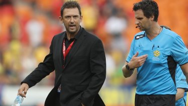 Tough times: Tony Popovic challenging referee Kris Griffiths-Jones after the Wanderers' defeat to Central Coast.