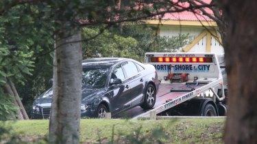 Police seize an Audi that was parked near Cabarita Wharf.