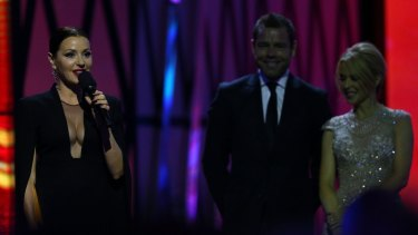 """Tina Arena, 48, used her speaking opportunity to hit out at what she called """"the complete ostracism of a woman"""" after being inducted into the Hall of Fame at the ARIAs by Kylie Minogue."""