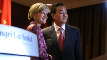 Australian Minister for Foreign Affairs Julie Bishop gave her Chinese counterpart Minister Wang Yi a much warmer reception in Sydney in 2014.