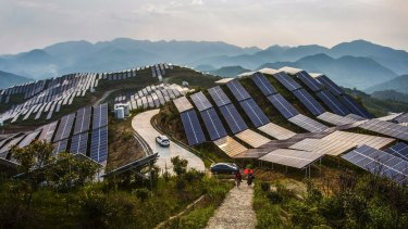 Solar PV panels at a power station in China's Fujian province.