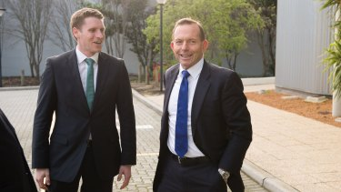 The Liberal Democrats will preference Labor's candidate in Canning ahead of the Liberal candidate, Andrew Hastie, pictured with Prime Minister Tony Abbott.
