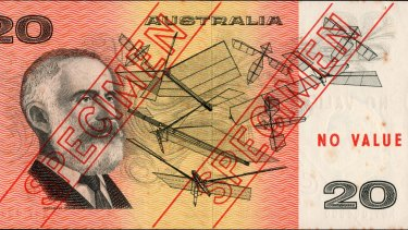 A specimen note produced before the introduction of decimal currency.