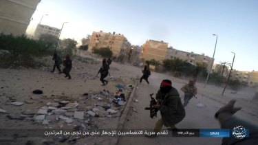 Photo posted on a file sharing website in January by the Islamic State Group in Sinai, of a previous attack.