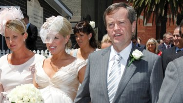 Chloe and Bill Shorten after their 2009 wedding ceremony in Melbourne.