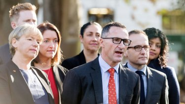Greens leader Richard Di Natale (centre) with his inner-Melbourne candidates and local MP Adam Bandt.