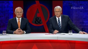 Smiling but under the weather ... Malcolm Turnbull was the sole guest on Q&A on Monday night.