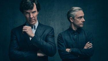Benedict Cumberbatch and Martin Freeman as Sherlock Holmes and Dr Watson.