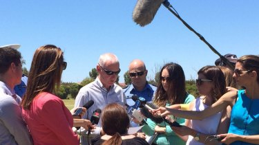 Geoff Trott addresses the media after the discovery of his grandson Sam's body in a Landsdale lake.