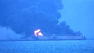 In this photo provided by Korea Coast Guard, the Panama-registered tanker Sanchi is seen ablaze after a collision with a freighter off China's eastern coast.