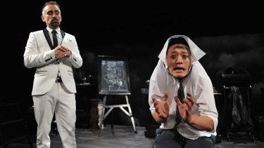 Yannick Lawry and George Zhao in <i>The Screwtape Letters</i>.