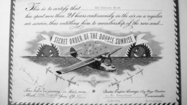 The Double Sunrise certificate earned by Hudson Fysh in August 1943 when he flew home on the Catalina service after a visit to Britain. The flight took 32 hours, the longest ever recorded for the crossing.