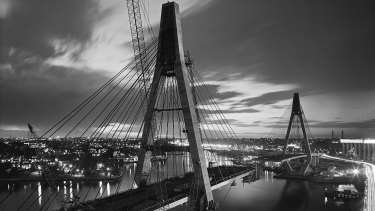 Labour of love: The ANZAC Bridge under construction.