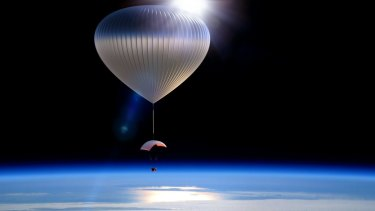 An artists' impression of the World View capsule suspended from a balloon at the edge of space.