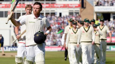 Ian Bell acknowledges the crowd after England won the third Ashes Test match at Edgbaston in July last year.