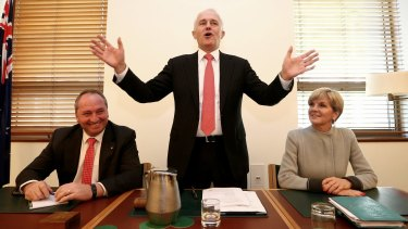 Mr Joyce, Mr Turnbull and Ms Bishop.