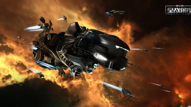 Eve Online players pilot spaceships through a hostile science fiction galaxy.
