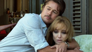 Brad Pitt and Angelina Jolie in a scene from the film <em>By the Sea</em>.