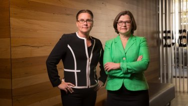Outgoing Brunswick MP Jane Garrett and her would-be replacement, the ACTU'S Ged Kearney.