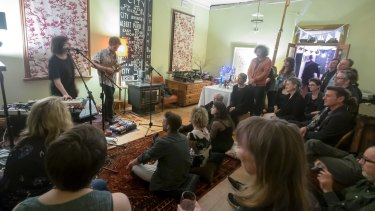 Phia and Josh Teicher perform at a private house in Richmond.