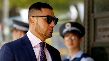 Salim Mehajer arrives at the Downing Centre court complex on Tuesday.