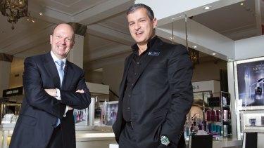 David Jones chairman Gordon Cairns (left) with CEO Paul Zahra.