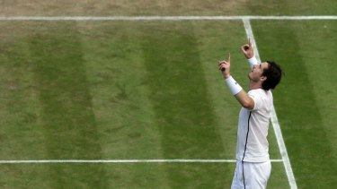Andy Murray celebrates after beating Tomas Berdych in the Wimbledon semi-final on Friday.