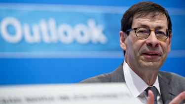 Maurice Obstfeld, chief economist at IMF, speaks at a world economic outlook news conference.