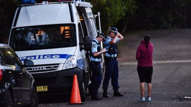 Police at the scene of the fatal stabbing in Bexley on Tuesday  morning.