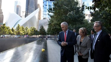 Prime Minister Malcolm Turnbull with Lucy Turnbull visit the 9/11 Memorial in New York.