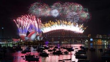 Fireworks light up the Sydney sky.