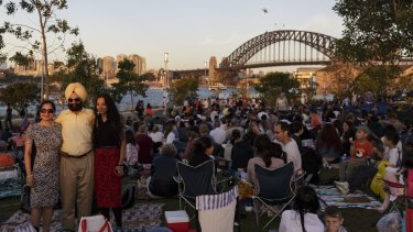 Crowds at Barangaroo park for last years New Year's Eve fireworks display.