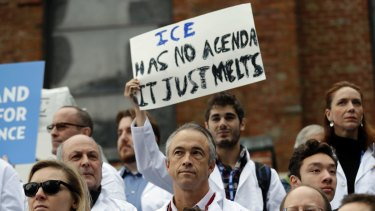 Scientists at a rally in conjunction with the American Geophysical Union's meeting on December 13 in San Francisco. The rally was to call attention to what scientists believe are unwarranted attacks on them by the incoming Trump administration.