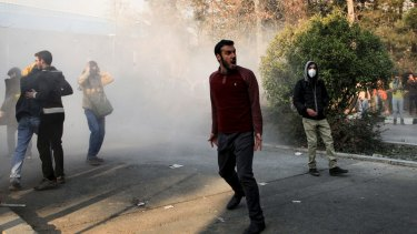 University students attend a protest at Tehran University on Saturday.