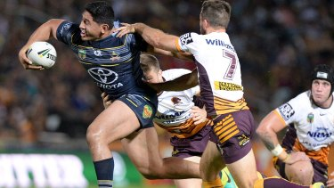 Unstoppable: Jason Taumalolo makes a trademark surge in an enormous performance for the Cowboys.