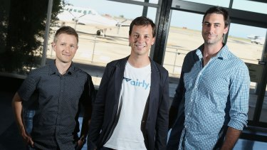 Airly co-founders, from left, Ivan Vysotskiy, Alexander Robinson and Luke Hampshire, are seeking funding for the private jet service.
