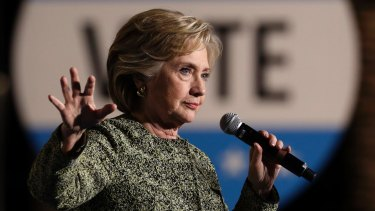 Democratic presidential candidate Hillary Clinton speaks at a rally in Las Vegas.