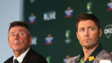 Future doubt: Michael Clarke with national selector Rod Marsh.