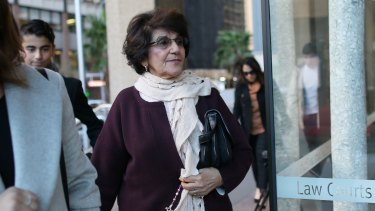 Eddie Obeid's wife Judith arrives at the Supreme Court in Sydney on Monday for her husband's appeal.