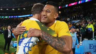In doubt: Wallabies star Israel Folau may miss the clash with Wales due to an ankle injury.