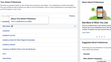 Facebook lets you see – and customise – the categories of ads it is targeting you with.