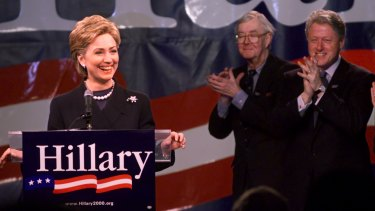 Hillary Clinton announcing her run for the Senate in 2000. Close friends deny she is an enabler of her husband.
