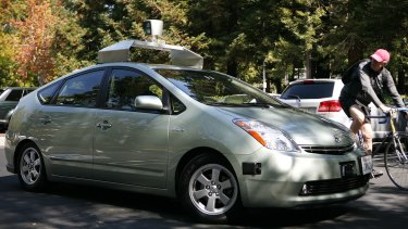 A self-driving car developed and outfitted by Google.