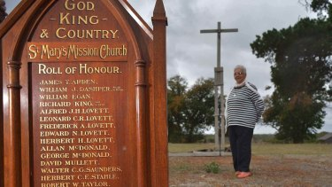 The Roll of Honour that was rescued from the deliberately destroyed mission church. Laura Bell, Frederick Lovett's daughter, on the site of the old church on Lake Condah.