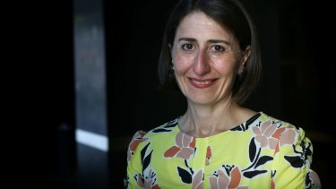Incoming NSW premier Gladys Berejiklian in her office on Sunday.