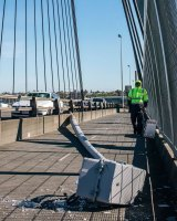 A light tower which fell across Anzac Bridge on Monday.
