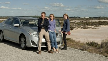 Richard Roxburgh, Radha Mitchell and Odessa Young in <i>Looking for Grace</i>, in which frantic parents set off to find their runaway daughter.