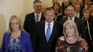Then-Prime Minister Tony Abbott and his colleagues before the leadership ballot on September 14.