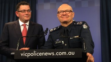 Victorian Police Chief Commissioner Ken Lay announces his resignation with Premier Daniel Andrews.